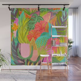 Saturated Tropical Plants and Flowers Wall Mural