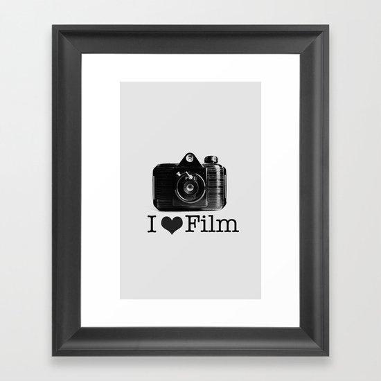 I ♥ Film (Grey/Black) Framed Art Print