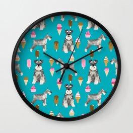 schnauzer ice cream dog breed pet pattern dog mom Wall Clock