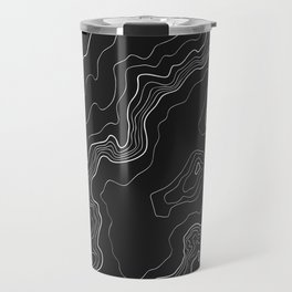 Black & White Topography map Travel Mug