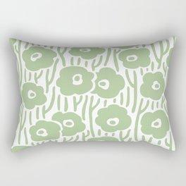 Mid Century Modern Wild Flowers Nile Green Rectangular Pillow