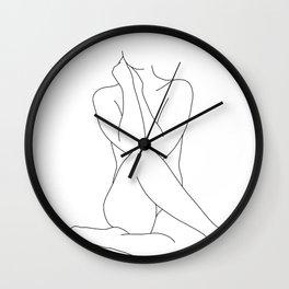 Nude figure line drawing illustration - Georgia Wall Clock