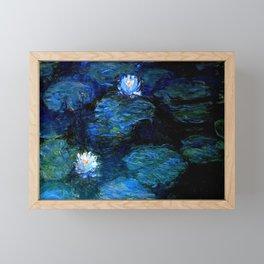 monet water lilies 1899 Blue teal Framed Mini Art Print