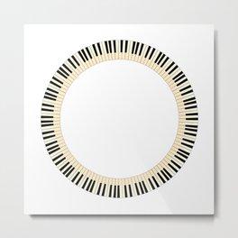 Pianom Keys Circle Metal Print