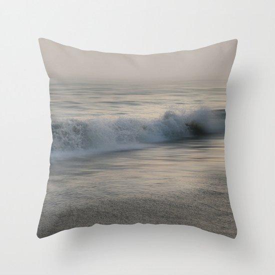 Misty Morning At Sea Throw Pillow