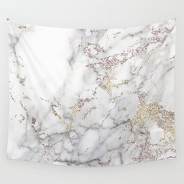 Champagne Rose Gold Blush Metallic Glitter Foil On Gray Marble Wall Tapestry