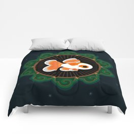 Butterfly goldfish - white Comforters