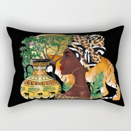 African woman,tiger,black  background . Rectangular Pillow