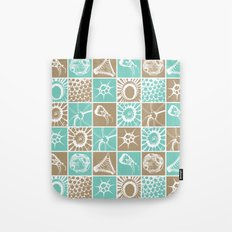 Microscopic Life Sillouetts Blue and Taupe Tote Bag
