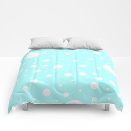 Mixed Polka Dots - White on Celeste Cyan Comforters