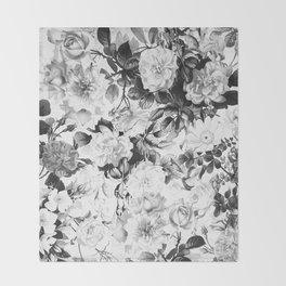 Black gray modern watercolor roses floral pattern Throw Blanket