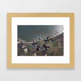 Skydive Formation over Sylt Framed Art Print