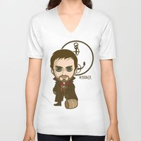 hook V-neck T-shirts featuring Captain Hook by Samtronika