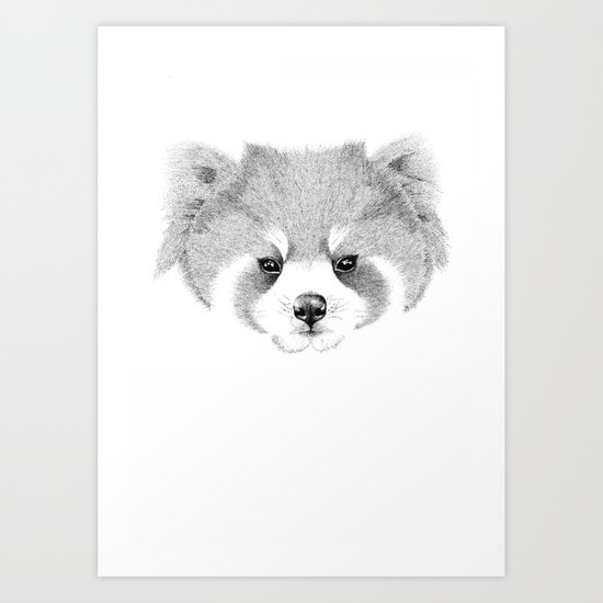 'The Red Panda' pointillism drawing with ink Art Print