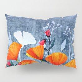 Summer night- Shadow of a Poppy meadow- Flowers Pillow Sham