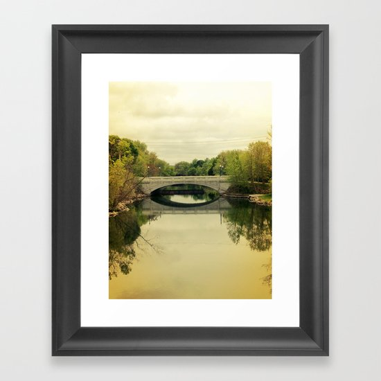 Bridge & Yellow Sky Framed Art Print