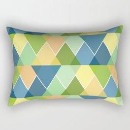 Layered Triangles - Blue, Green, Yellow Rectangular Pillow