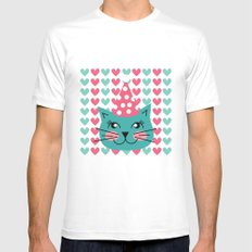 Cat Party hat White MEDIUM Mens Fitted Tee