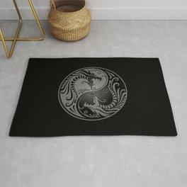 Gray and Black Yin Yang Dragons Rug