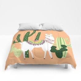 Cute Llama with Cactus Comforters