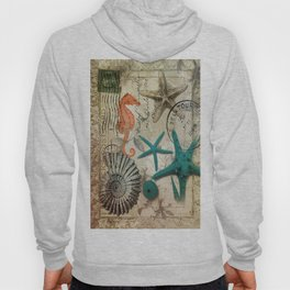 french botanical art seahorse teal green starfish Hoody