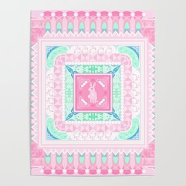 decorative square pattern with a rabbit Poster