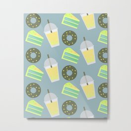 Bubble Tea Pattern With Donnut Yellow Metal Print