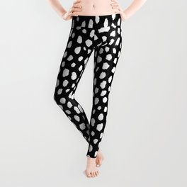 Handmade polka dot brush strokes (black and white reverse dalmatian) Leggings