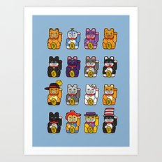 Fortune Cats Art Print