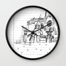 Childhood Drawings (Cathedral) Wall Clock