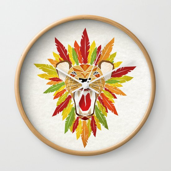 lion feathers Wall Clock