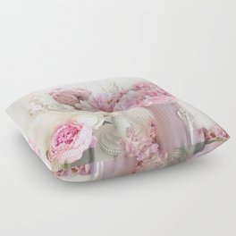 Shabby Chic Pink Peonies White Mirror Romantic Cottage Prints Home Decor Floor Pillow