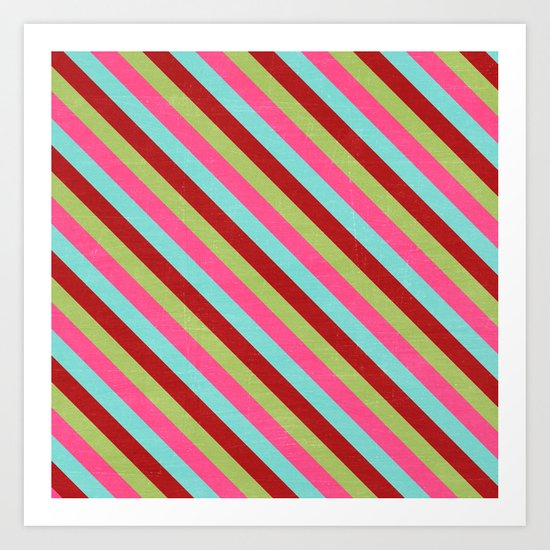 holiday diagonal stripes Art Print