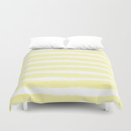 Sunny Yellow Handdrawn horizontal Beach Stripes - Mix and Match with Simplicity of Life  Duvet Cover