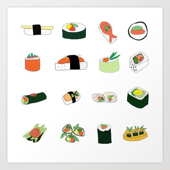 Sixteen Servings of Sushi Art Print