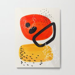 Fun Mid Century Modern Abstract Minimalist Vintage Orange Yellow Orbit Bubbles Metal Print