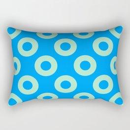 Mint circles on blue background Rectangular Pillow