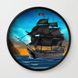 Pirate Ship at Sunset Wall Clock