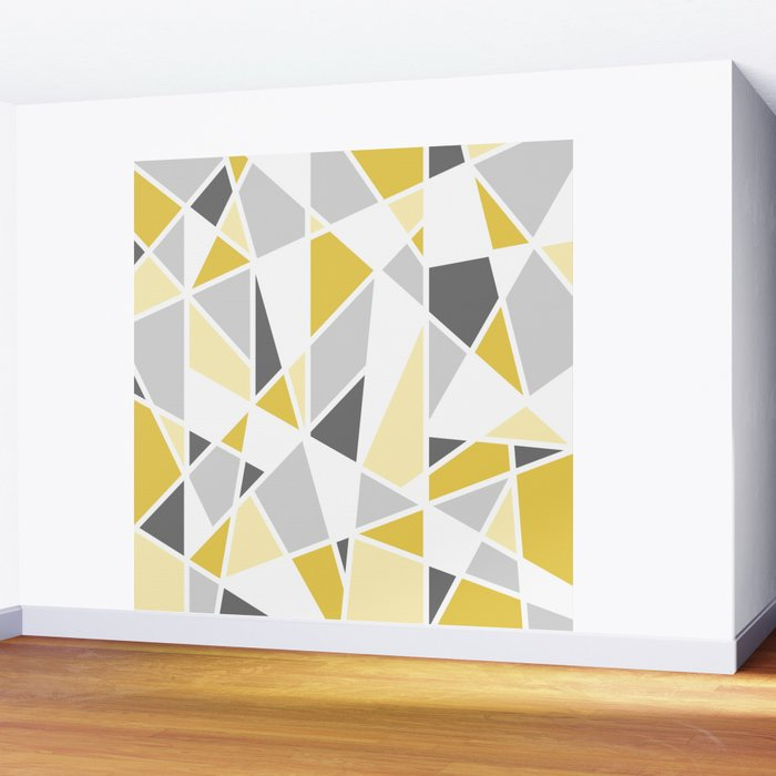 Geometric Pattern in yellow and gray Wall Mural