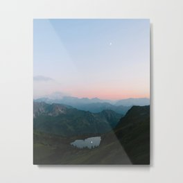 Calm Mountain Lake Sunset and Moon Reflection Metal Print