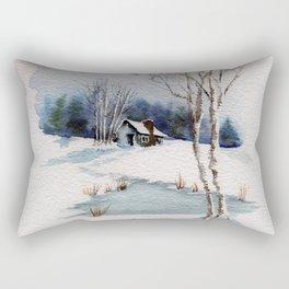 Winter At the Cabin Rectangular Pillow
