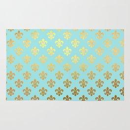 Royal gold ornaments on aqua turquoise background Rug