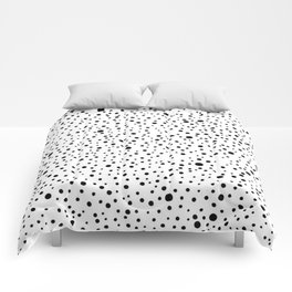 Polka Dots | Black and white pattern Comforters