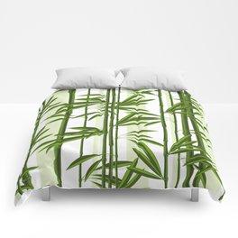 Green bamboo tree shoots pattern Comforters