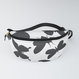 black butterflies, cicada silhouette Fanny Pack