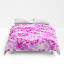 Pink Pattern Orchids Galore Comforters