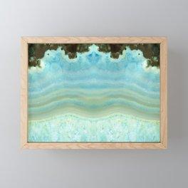 Turquoise Aquamarine Blue Gem Stone Agate Crystal Framed Mini Art Print