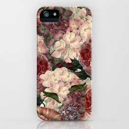 Vintage & Shabby Chic Pink Dark Floral Roses Lilacs Flowers Watercolor Pattern iPhone Case
