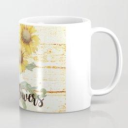 Country Sunflowers on wood Coffee Mug