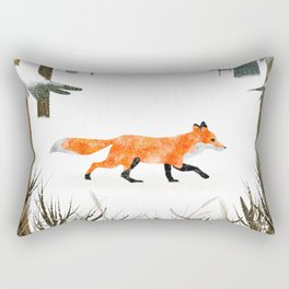 Fox In A Late Winter Snowfall Rectangular Pillow
